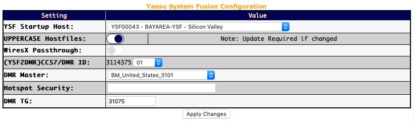 YSF Gateway configuration