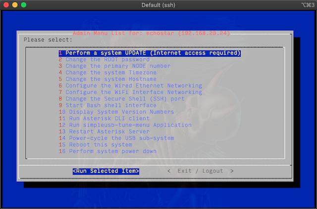 Admin menu screenshot